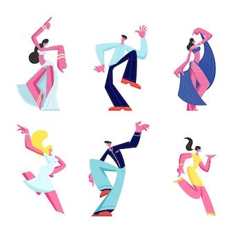 Satz männlicher und weiblicher charaktere, die auf weißem hintergrund tanzen. karikatur flache illustration