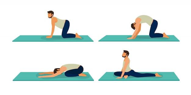 Satz männliches yoga. illustration des karikaturmannes in verschiedenen posen des yoga. ein typ yoga posiert training