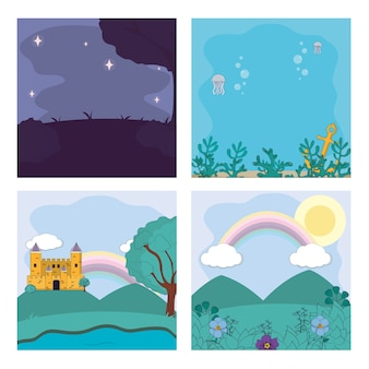 Satz magische landschaftskarikaturen