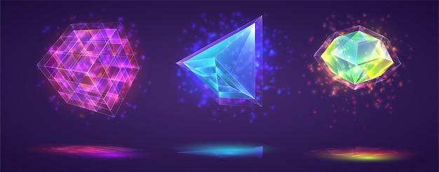 Satz magischer kristalle. heller regenbogenfarbener edelstein