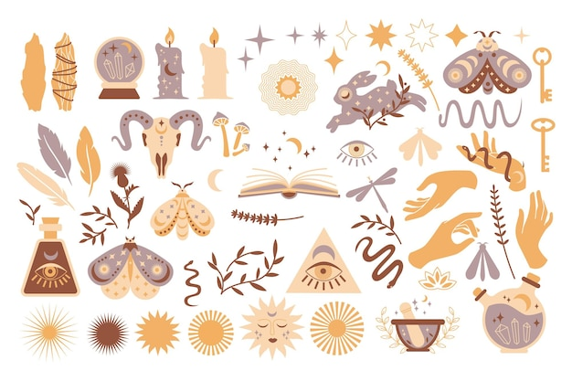 Satz magischer symbole, esoterische hexentätowierungen. sammlung von halbmond, sonne mit gesicht, händen, pflanzen, magischer kugel und sternen, kristallen. flache mystische vintage-vektorillustration. boho-design für karte