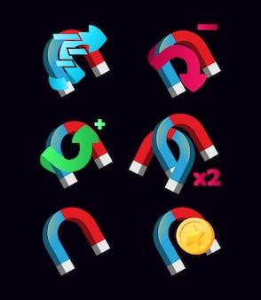 Satz magnetfähigkeitssymbol für gui-vermögenswert