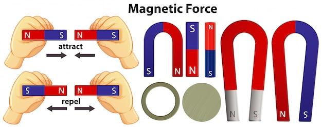 Satz magnetische ausrüstungen auf weißem hintergrund