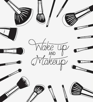 Satz make-upbürstenzubehör herum