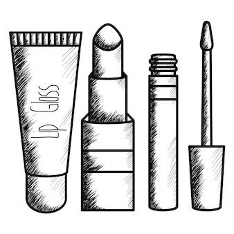 Satz make-upzubehörzeichnung