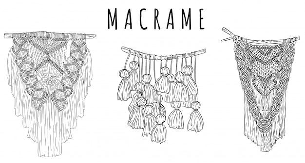 Satz makramee-boho-stil wandhalter kleider kritzeleien skizzen. sammlung von textilknoten-designelementen. einfaches lineares modernes indigenes handwerk