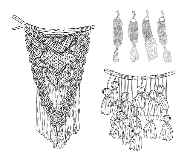 Satz makramee-boho-stil wandhalter und schlüsselanhänger kritzeln skizzen. sammlung von textilknoten-designelementen. einfaches lineares modernes indigenes handwerk
