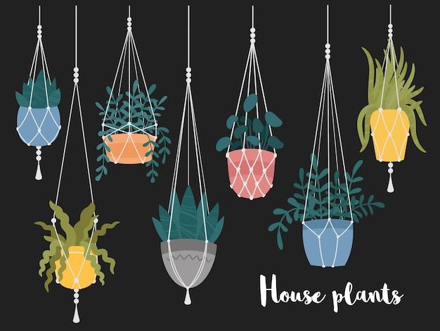 Satz makramee hängende pflanzen in töpfen. kleiderbügel mit eingetopften innengartenblumen. handgemachte heimdekorationen. hand gezeichnete karikatur