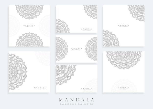 Satz mandala-hintergrundschablone und mandala-kartenschablone