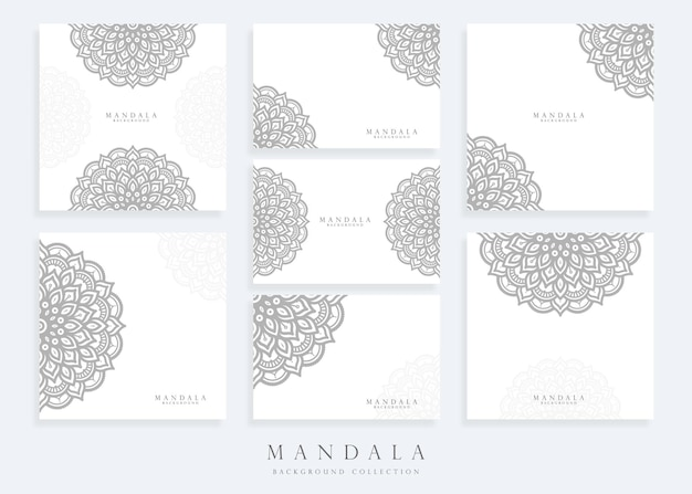 Satz mandala-kartenschablone für abstraktes und dekoratives konzept