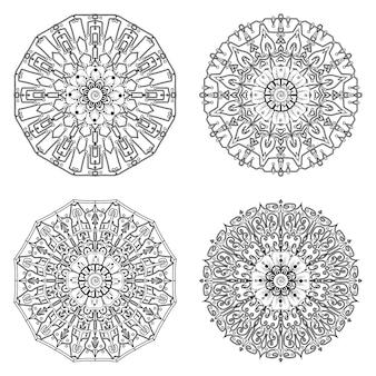 Satz mandala mit mehndi-blumenverzierung in malbuchseite des ethnischen orientalischen stils
