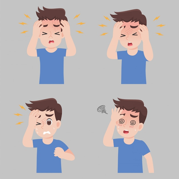Satz mann mit verschiedenen krankheitssymptomen - kopfschmerzen, fieber, schwindel