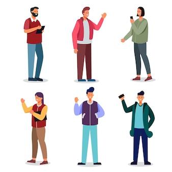 Satz mann- und frauenkarikaturcharakter mit lässigem und gerät, um am täglichen leben zu arbeiten, isolierte illustration
