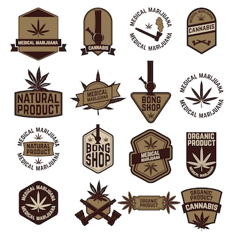Satz marihuana-etiketten