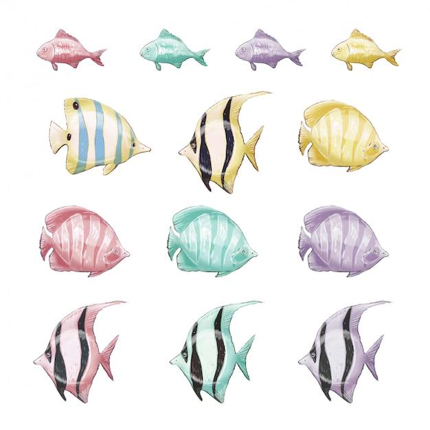 Satz marine mehrfarbige clipart-meeresfische