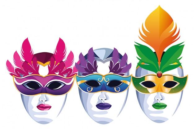 Satz masken mit federn