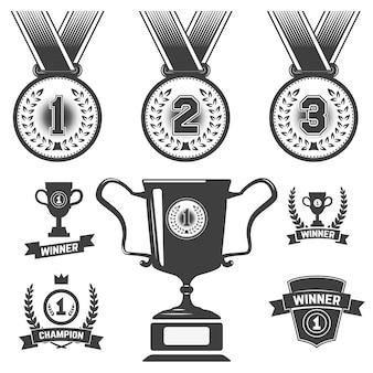 Satz medaillensymbole, trophäen-, erstplatzierungssymbole.
