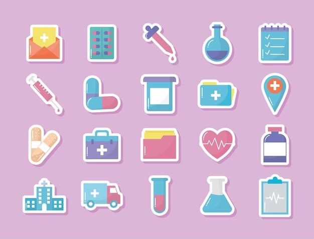 Satz medizinische ikonen mit rosa hintergrund.