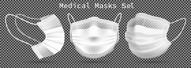 Satz medizinische masken - vorlage. aus verschiedenen blickwinkeln zum schutz von coronaviren, infektionen und kontaminierter luft.