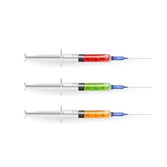 Satz medizinische spritze mit nadel, mit rotem, grünem und gelbem serum. grafische farbillustration der realistischen skizze auf weißem hintergrund