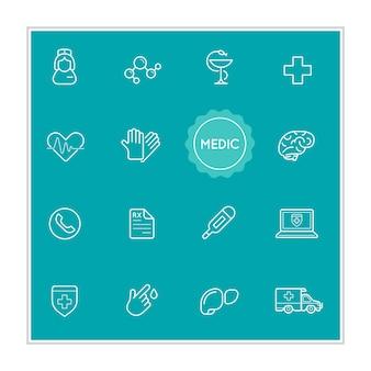 Satz medizinischer krankenhaus-vektor-illustrationselemente kann als logo oder symbol in premium-qualität verwendet werden