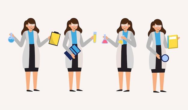 Satz medizintechnikerin, die diagrammblock und reagenzglas und verschiedene aktion in zeichentrickfiguren hält, isolierte flache illustration