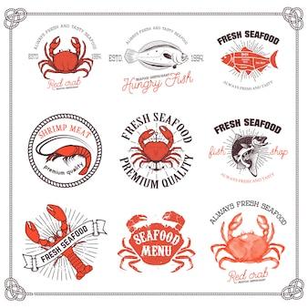 Satz meeresfrüchteetiketten lokalisiert auf weißem hintergrund. gestaltungselement für logo, etikett, emblem, zeichen, menü, plakat.