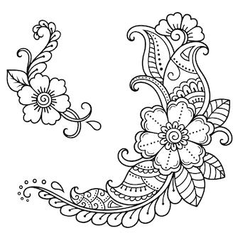 Satz mehndi blume. dekoration im ethnisch orientalischen, indischen stil. gekritzelverzierung. umriss handzeichnung illustration.