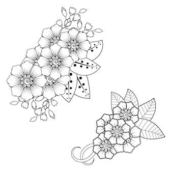 Satz mehndi blume. dekorative verzierung im ethnisch orientalischen stil. gekritzelverzierung. umriss hand zeichnen illustration.