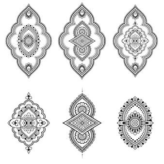 Satz mehndi blumenmuster. dekoration im ethnisch orientalischen, indischen stil. gekritzelverzierung. umriss handzeichnung illustration.