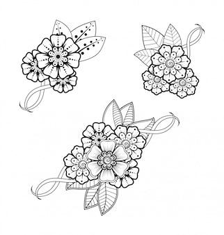 Satz mehndi-blumenmuster für henna-zeichnung und tätowierung. dekoration im ethnisch orientalischen, indischen stil.