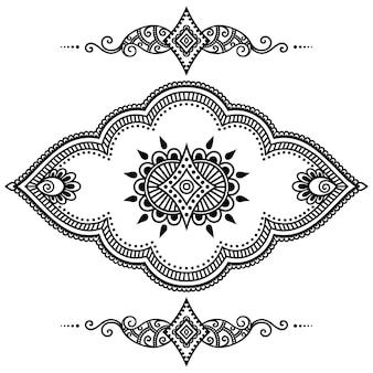 Satz mehndi-verzierung. dekoration im ethnisch orientalischen, indischen stil.