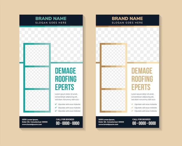 Satz mehrfarbiger grüner und brauner roll-up-business-banner-design-vorlagenvektor