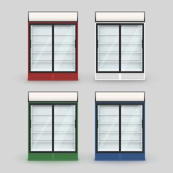 Satz mehrfarbiger kühlschrank-kühl- / gefrierschrank mit transparentem glas auf hintergrund