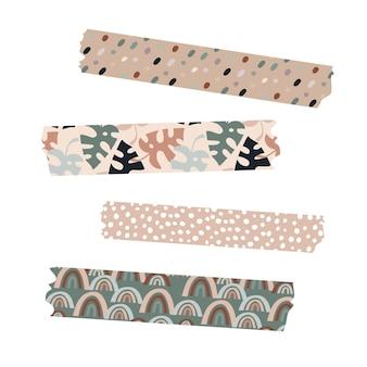 Satz mehrfarbiger streifen von klebebandstücken auf weißer hintergrundvektorillustration