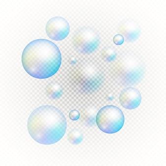 Satz mehrfarbiger transparenter seifenblasen.