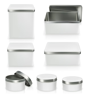 Satz metallkästen. metallbox isoliert auf weiß