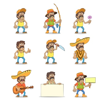 Satz mexikanischer mann