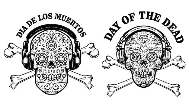 Satz mexikanischer zuckerschädel mit kopfhörern und gekreuzten knochen.