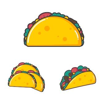 Satz mexikanisches lebensmittel des vektorillustrationstaco in der flachen designart