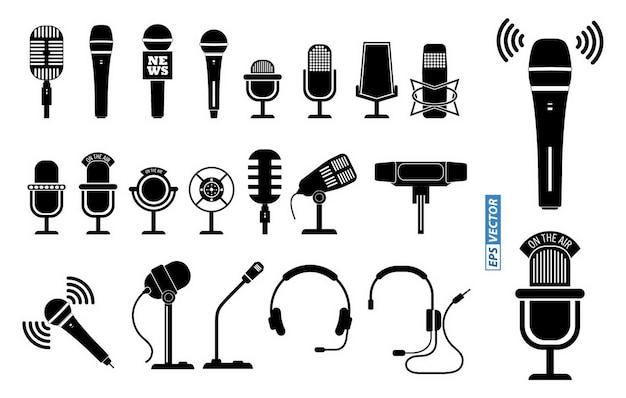 Satz mikrofonsymbol oder mikrofon, das auf dem podium steht oder klassisches mikrofonkonzept eps-vektor
