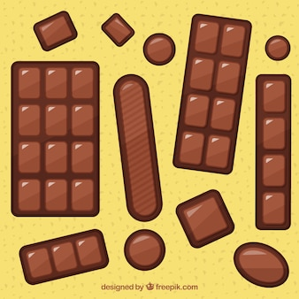 Satz milchschokoladenstangen und -stücke