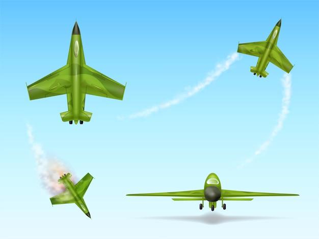 Satz militärflugzeuge, kampfflugzeug. camouflage-kampfflugzeug in verschiedenen ansichten