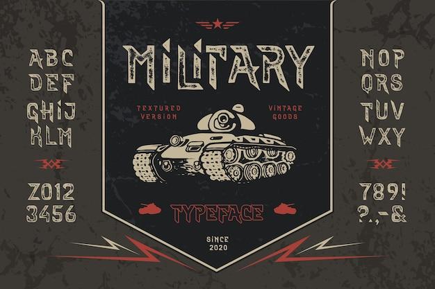 Satz militärisches strukturiertes alphabet mit handgezeichnetem panzer