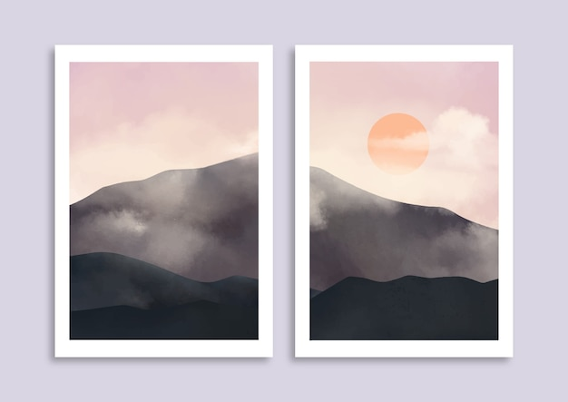 Satz minimalistische handgemalte landschaft mit bewölktem berg