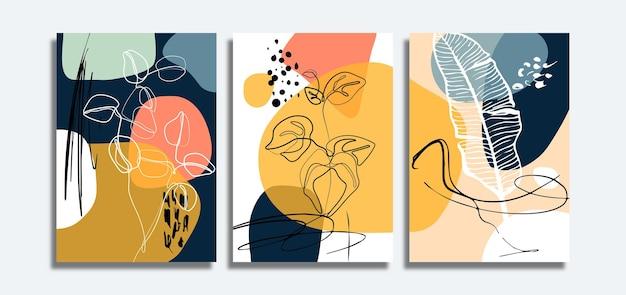 Satz minimalistischer abstrakter hintergrund mit blättern linie kunst