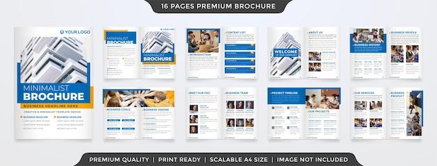 Satz minimalistischer broschürenvorlage im premium-stil