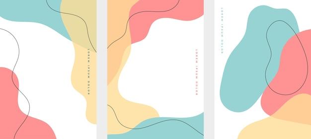 Satz minimalistischer hand gezeichneter flüssiger formenhintergrund