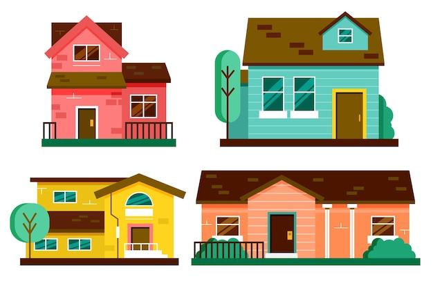 Satz minimalistischer verschiedener häuser