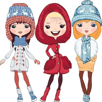 Satz mode-hipster-mädchen in einem mantel, strickmützen, schals und fäustlinge im winter